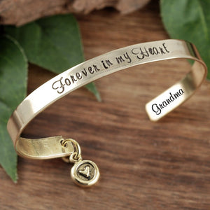 Personalized Cuff Bracelet With Round Heart Dangle Charm- Choose A Metal