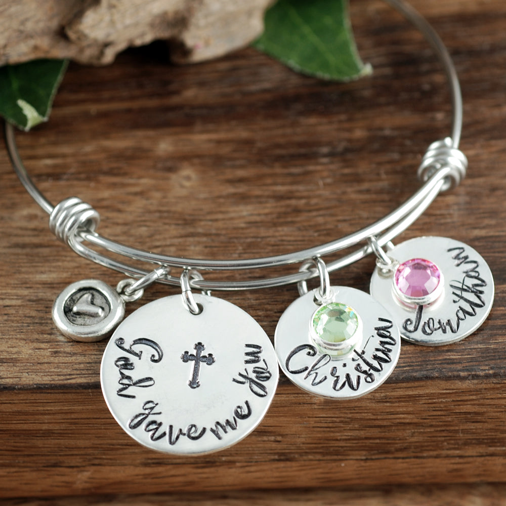 God Gave Me You Bangle Bracelet - Choose A Metal