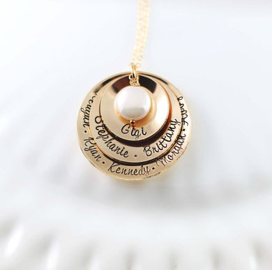 Gold Triple Disc Domed Necklace with Coin Pearl