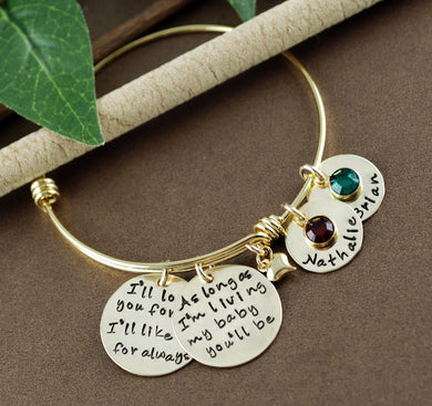 Gold I'll love you forever/ My Baby You'll Be Bangle Bracelet