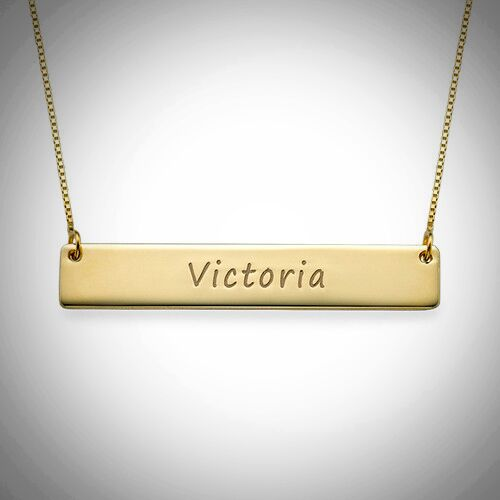 10K Solid Gold Engraved Bar Necklace