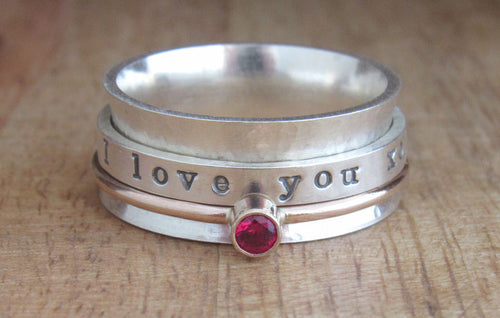 Gold and Sterling Silver Birthstone Spinner Ring
