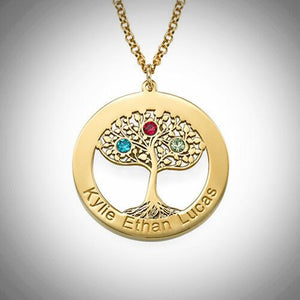 Gold Family Tree Birthstone Loop Necklace