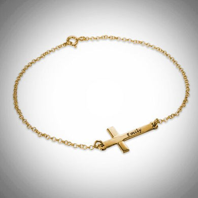Gold Personalized Sideways Cross Bracelet