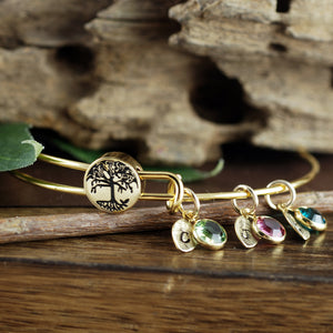 Gold Tree Of Life Birthstone Bangle Bracelet with Leaf Initials