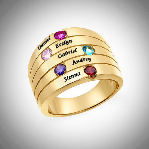 Gold Five Stone Mother's Ring