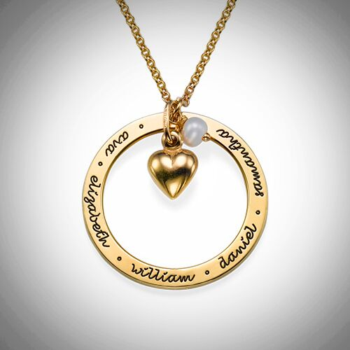 Gold Loop With Heart Necklace