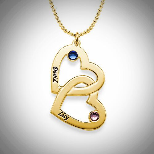 Gold Interlocking Hearts Birthstone Necklace