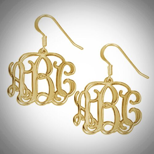 Gold Monogram Earrings