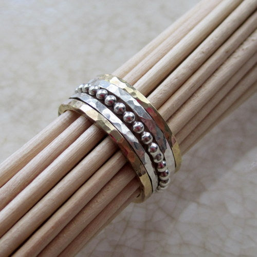 Gold and Silver Stacking Rings- Set of 5
