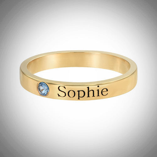 Gold Stackable Ring With Stone