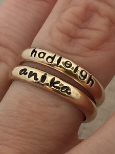 Gold Hand Stamped Personalized Ring