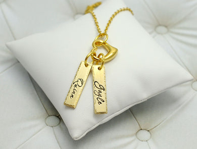 Gold Name Tag And Heart Necklace