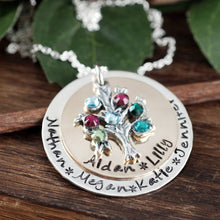 Load image into Gallery viewer, Hand Stamped Family Tree Birthstone Necklace