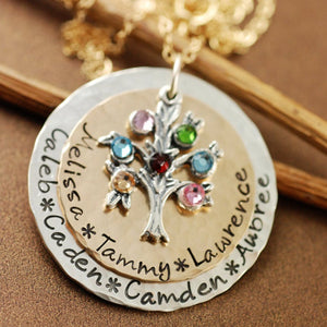 Hand Stamped Family Tree Birthstone Necklace