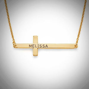 Sideways Cross Necklace- Sterling Silver, Gold, or Rose Gold