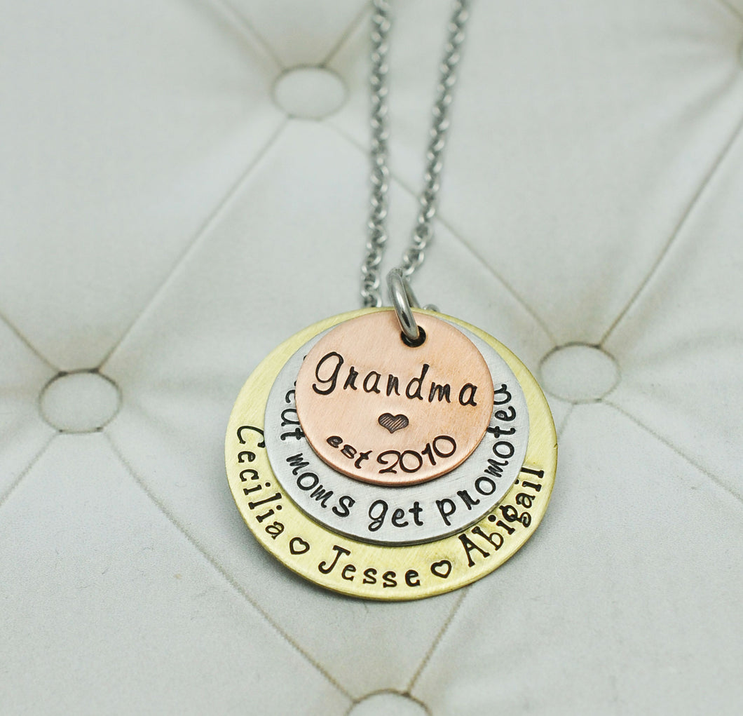 Mixed Metal Grandma Love Necklace