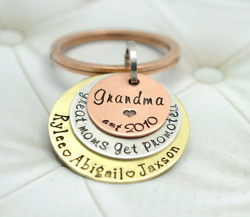 MIXED METAL GRANDMA KEYCHAIN