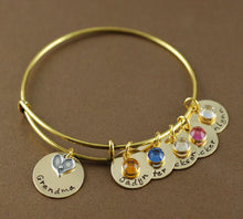 Load image into Gallery viewer, Grandma's Heart Gold-Tone Bangle Bracelet