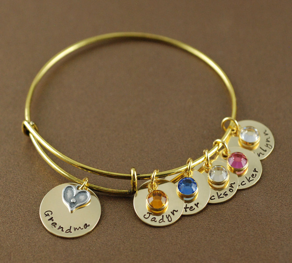 Grandma's Heart Gold-Tone Bangle Bracelet
