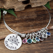 Load image into Gallery viewer, Grandma Birthstone & Heart Family Tree Bangle