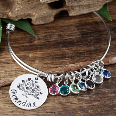 Grandma Birthstone & Heart Family Tree Bangle