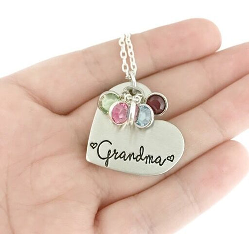 Grandma Heart Necklace With Birthstones