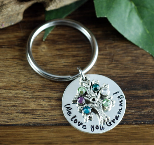 Personalized Family Birthstone Tree Keychain