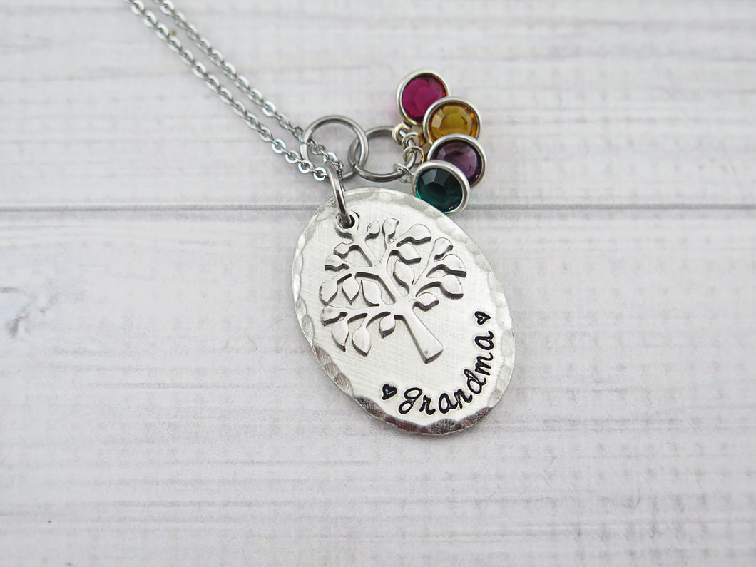 Fine Pewter Oval Family Tree Necklace