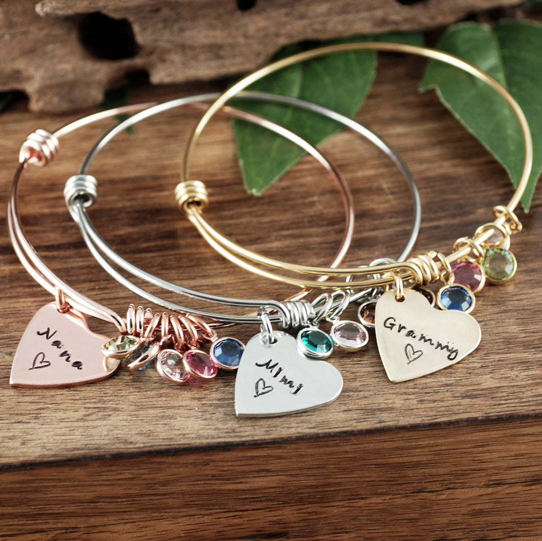 Personalized Heart Bangle Bracelet - Choose a Color