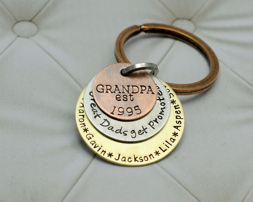 Mixed Metal Grandpa Keychain