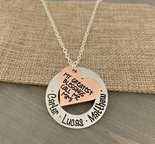 "Load image into Gallery viewer, Mixed Metal ""My Greatest Blessings"" Heart Necklace"