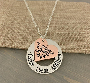 "Mixed Metal ""My Greatest Blessings"" Heart Necklace"