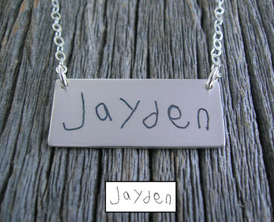 Rectangular Actual Handwriting Necklace
