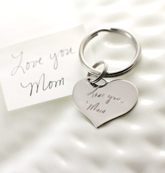 Actual Handwriting Heart Keychain