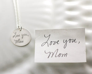 "3/4"" Sterling Silver Handwriting Disc Necklace"