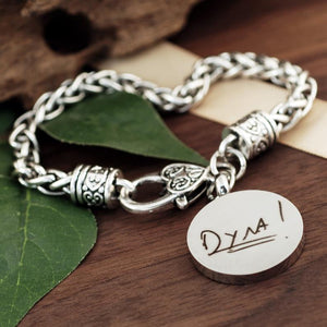 Actual Handwriting Antiqued Silver Bracelet