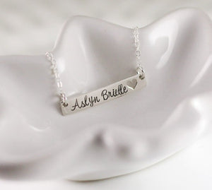 Sterling Silver Heart Cut-Out Bar Necklace
