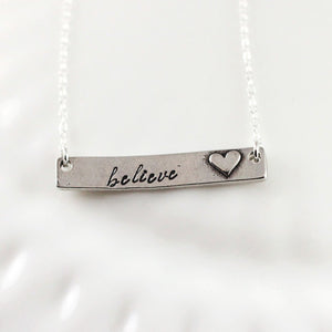 Raised Heart Personalized Bar Necklace