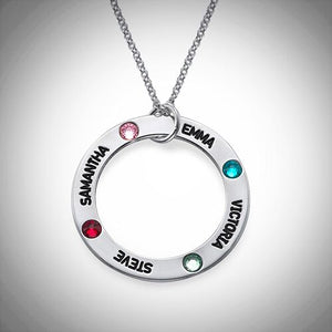 Sterling Silver Engraved Loop with Inset Birthstones Necklace