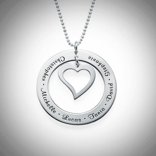Sterling Silver Loop With Open Heart Necklace