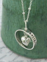 Load image into Gallery viewer, Sterling Silver Personalized Ring Heart Necklace