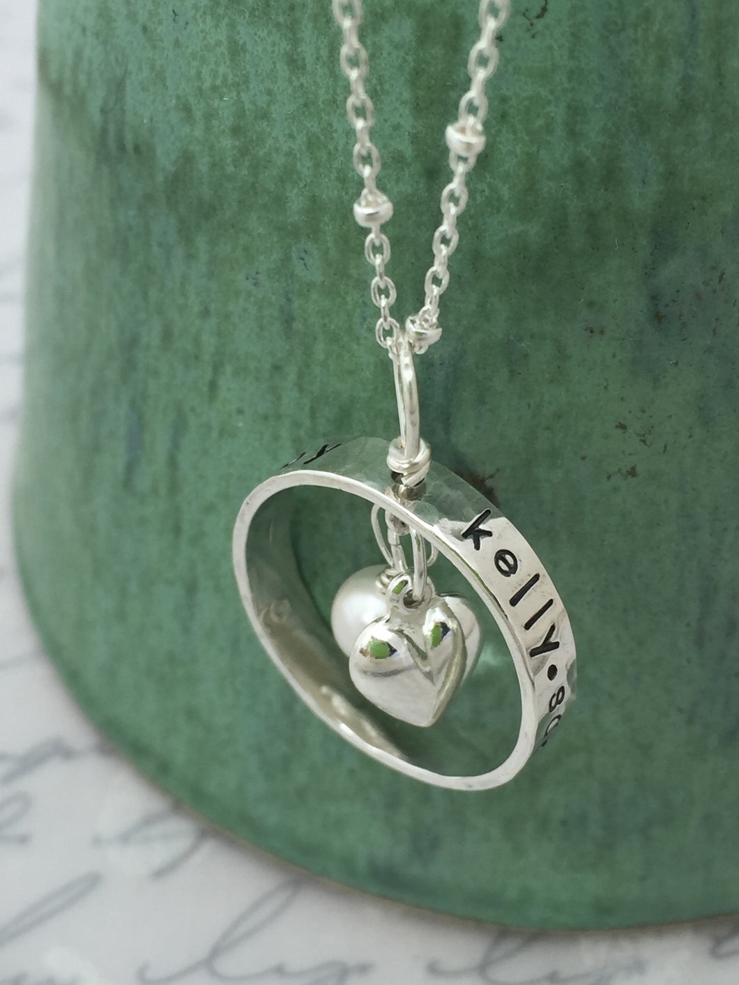 Sterling Silver Personalized Ring Heart Necklace