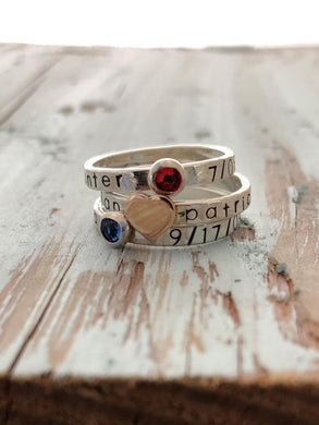 Personalized Hand Stamped Birthstone or Heart Ring