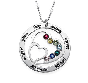 Sterling Silver Hearts Birthstone Loop Necklace
