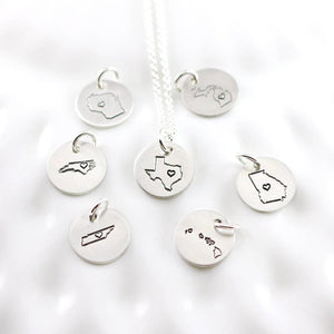 Sterling Silver Home State Necklace