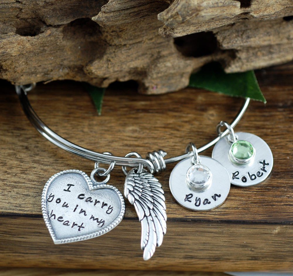 I Carry You In My Heart Bangle Bracelet