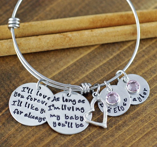 I'll love you forever/ My Baby You'll Be Bangle Bracelet