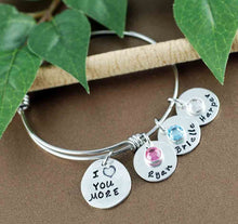 Load image into Gallery viewer, I Love You More Names Bangle Bracelet