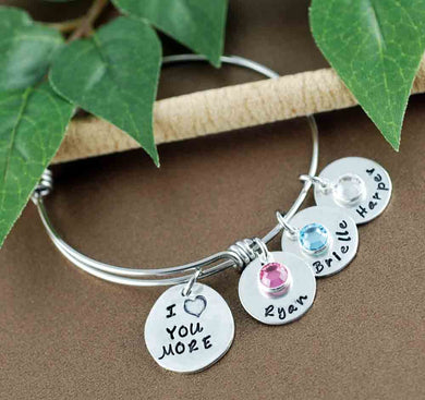 I Love You More Names Bangle Bracelet